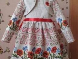 Платья детские и взрослые, маки, лён-рогожка - фото 4