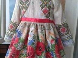 Платья детские и взрослые, маки, лён-рогожка - фото 3